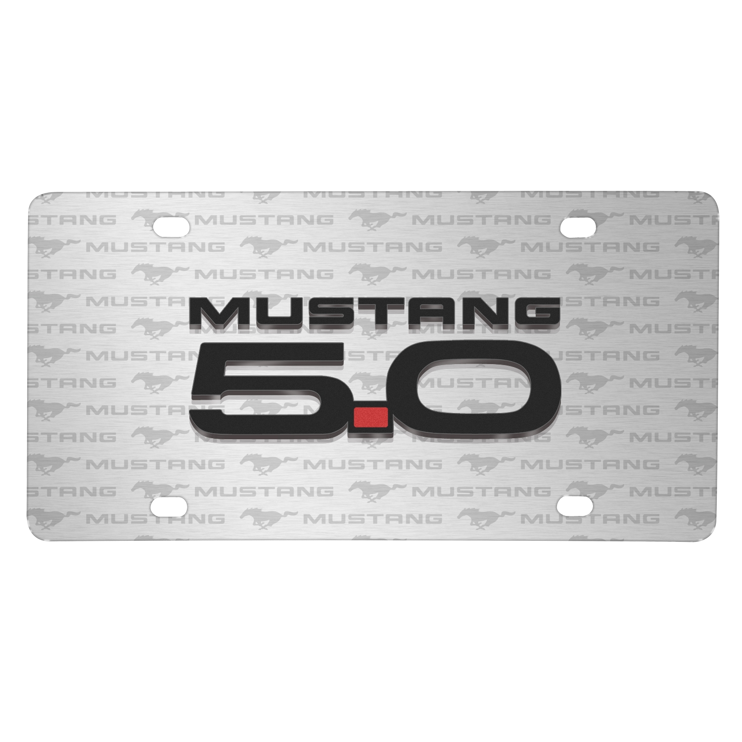 Ford Mustang GT 5.0 3D Logo on Logo Pattern Brushed Aluminum License Plate
