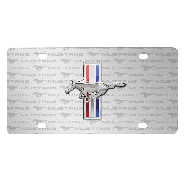 Ford Mustang Tri-Bar 3D Chrome Pony Logo on Logo Pattern Brushed Aluminum License Plate