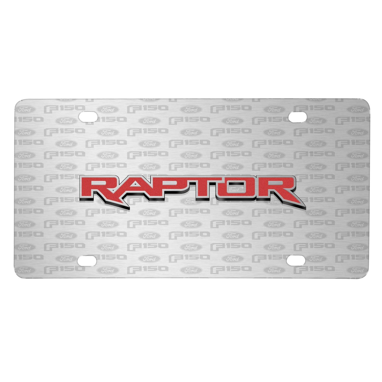 Ford F-150 Raptor in Red 3D Logo on Logo Pattern Brushed Aluminum License Plate