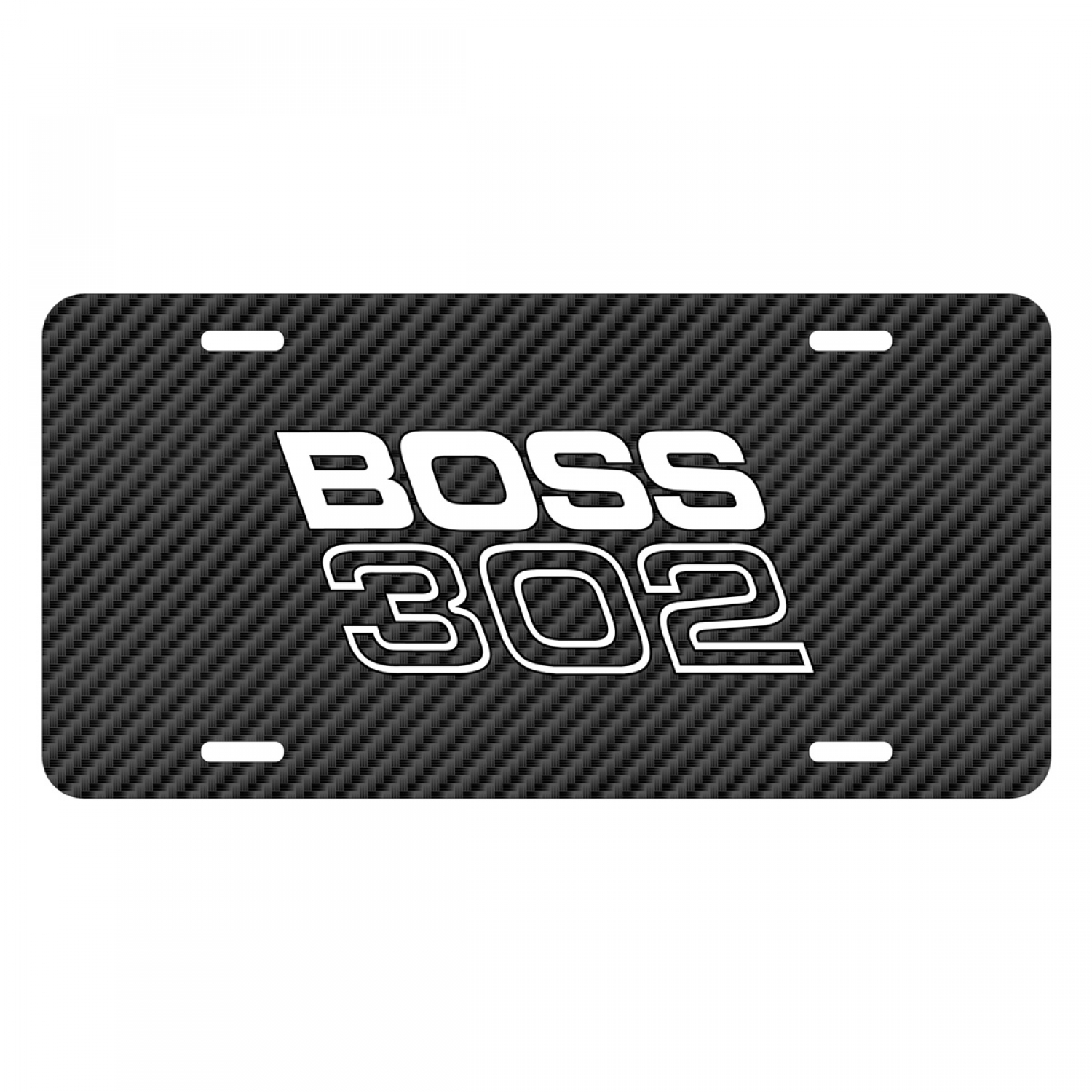 Ford Mustang Boss 302 Black Carbon Fiber Texture Graphic UV Metal License Plate