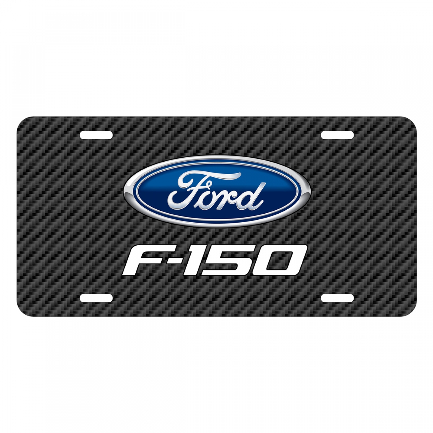 Ford F-150 2009 to 2014 Black Carbon Fiber Texture Graphic UV Metal License Plate