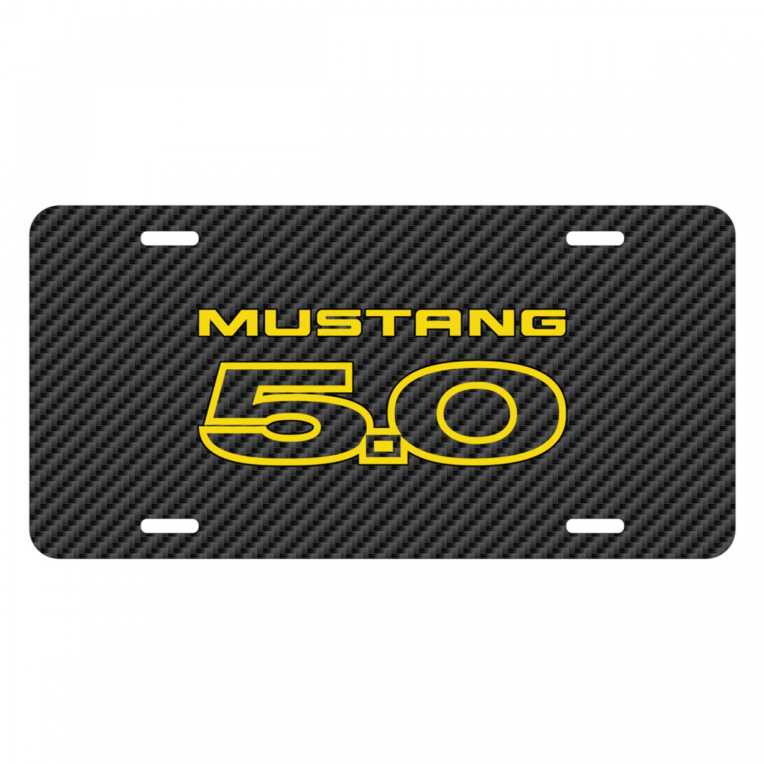 Ford Mustang 5.0 in Yellow Black Carbon Fiber Texture Graphic UV Metal License Plate