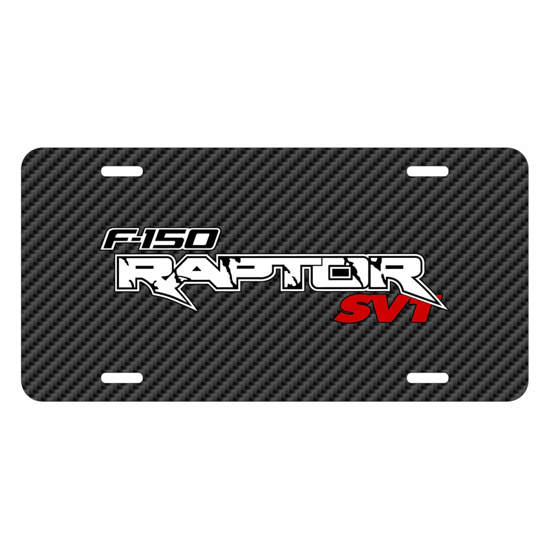 Ford F-150 Raptor SVT 2010 to 2014 Black Carbon Fiber Texture Graphic UV Metal License Plate