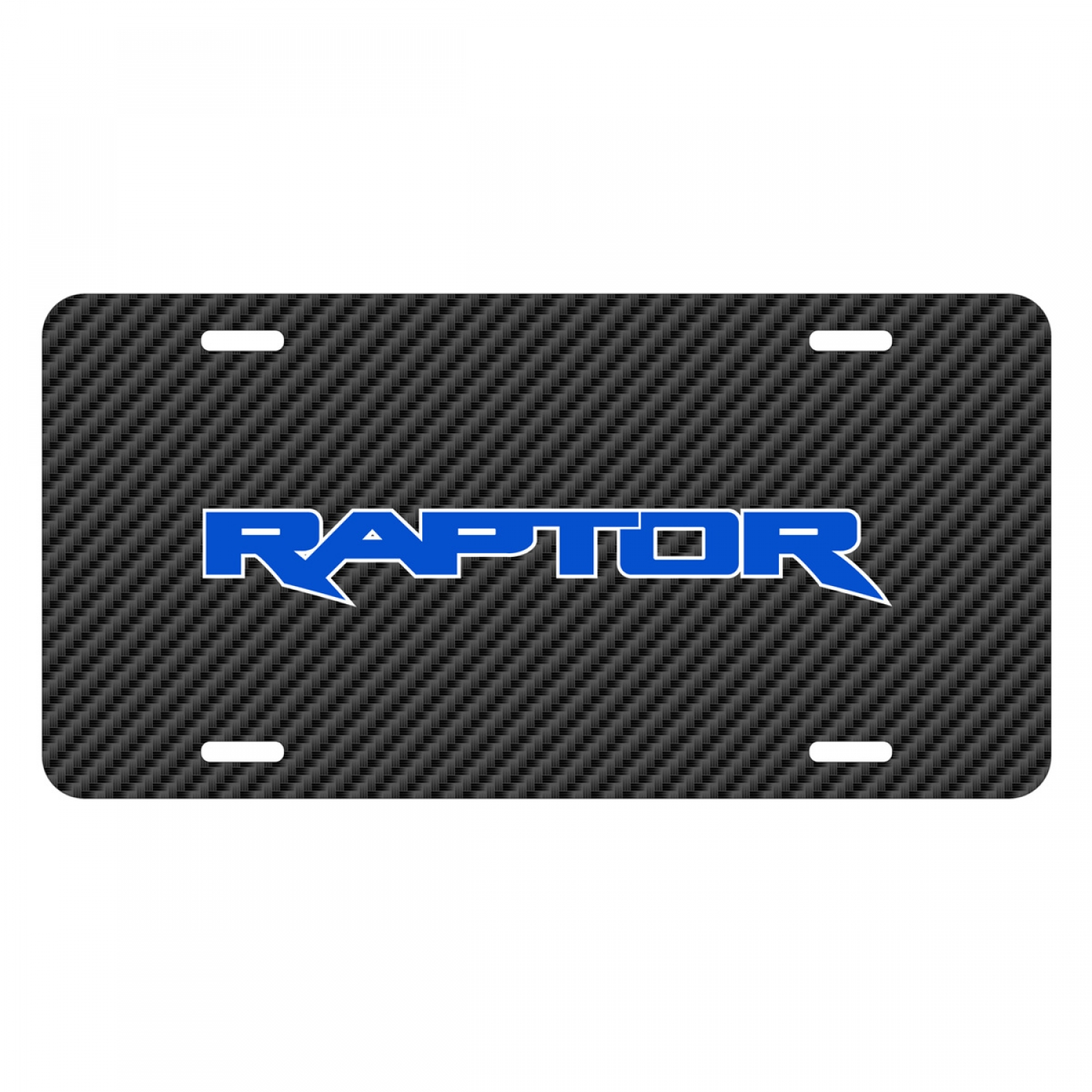 Ford F-150 Raptor 2017 in Blue Black Carbon Fiber Texture Graphic UV Metal License Plate