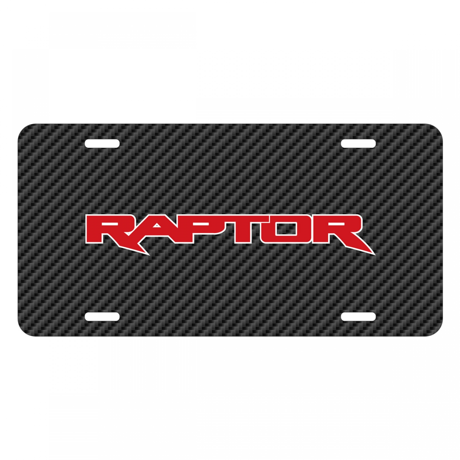 Ford F-150 Raptor 2017 in Red Black Carbon Fiber Texture Graphic UV Metal License Plate