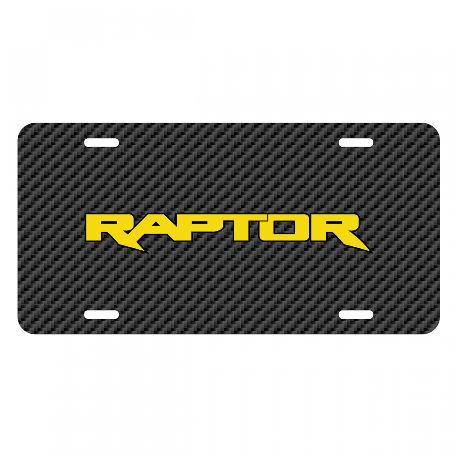 Ford F-150 Raptor 2017 in Yellow Black Carbon Fiber Texture Graphic UV Metal License Plate