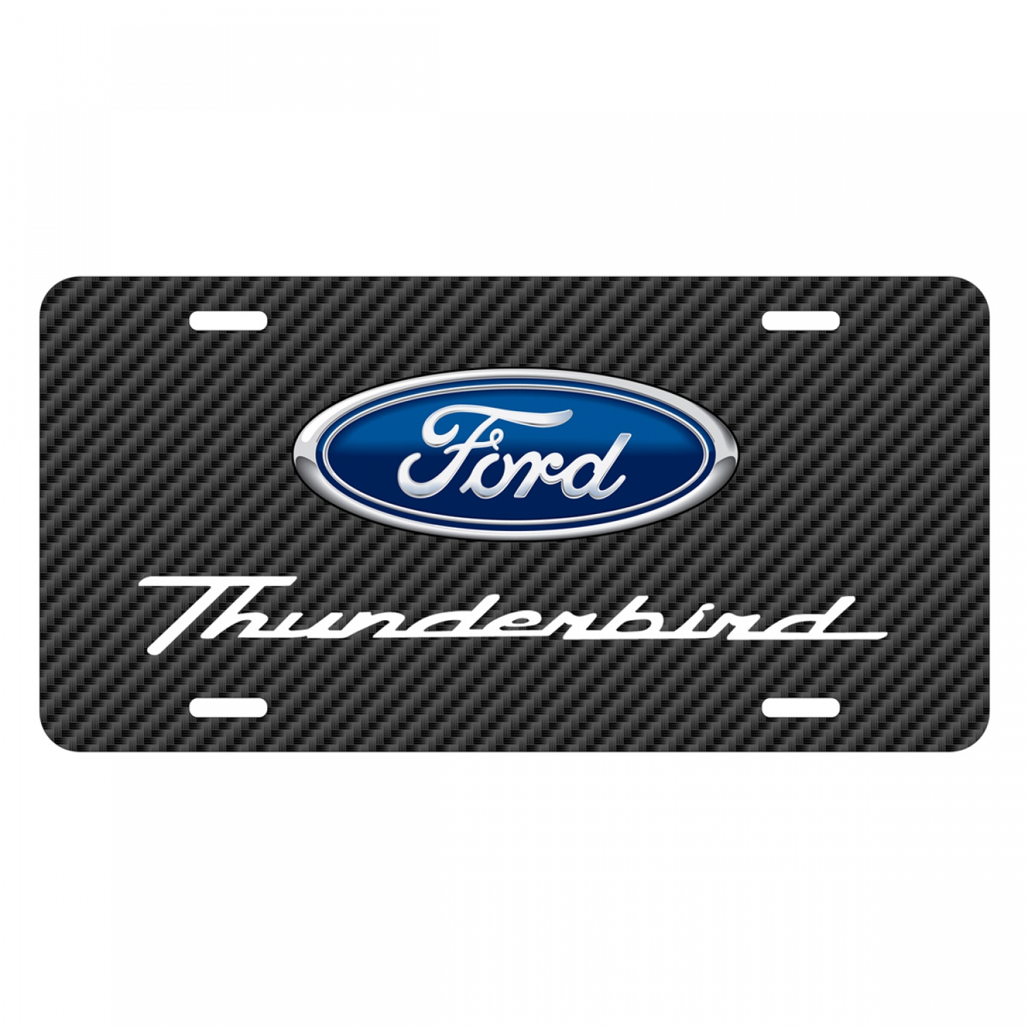 Ford Thunderbird Black Carbon Fiber Texture Graphic UV Metal License Plate