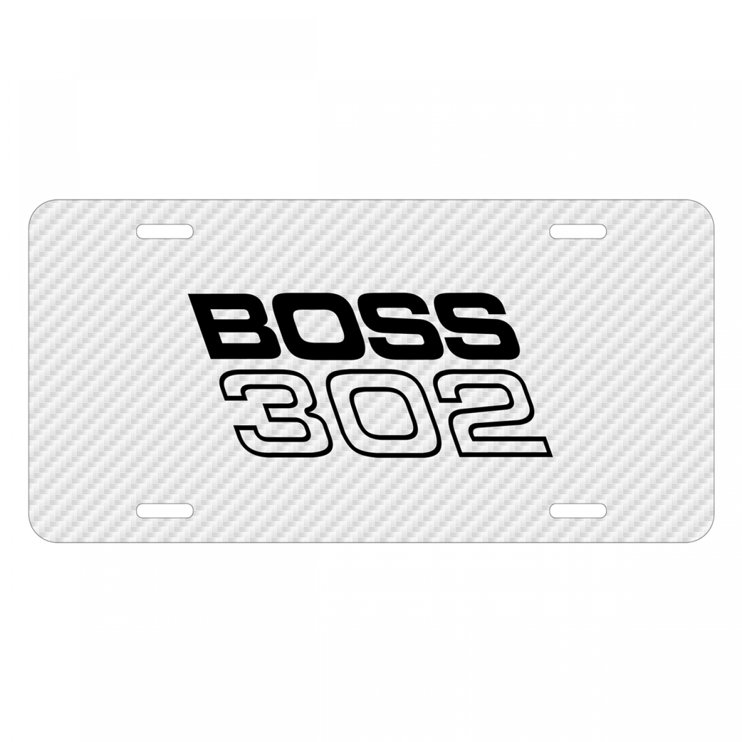 Ford Mustang Boss 302 White Carbon Fiber Texture Graphic UV Metal License Plate
