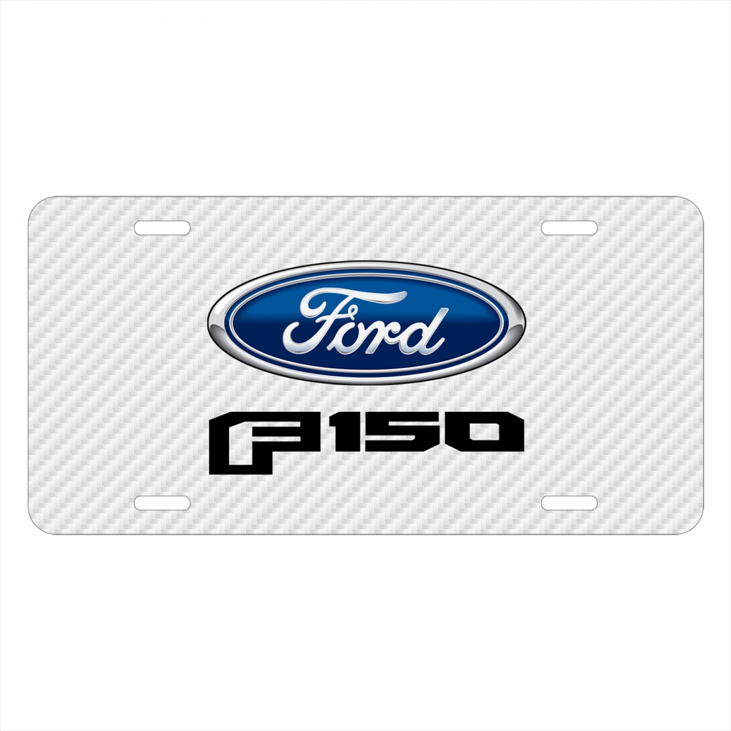 Ford F-150 2015 to 2017 White Carbon Fiber Texture Graphic UV Metal License Plate