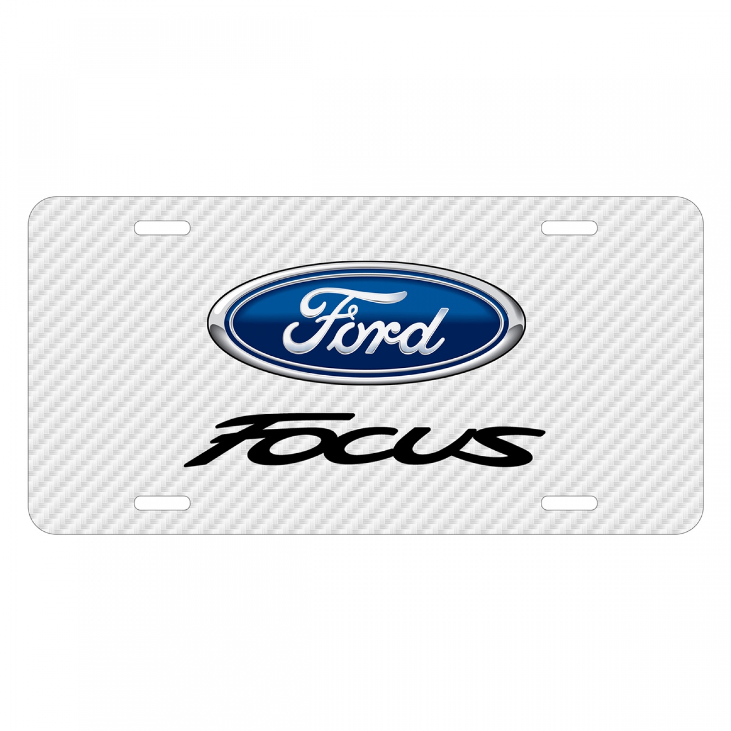 Ford Focus White Carbon Fiber Texture Graphic UV Metal License Plate
