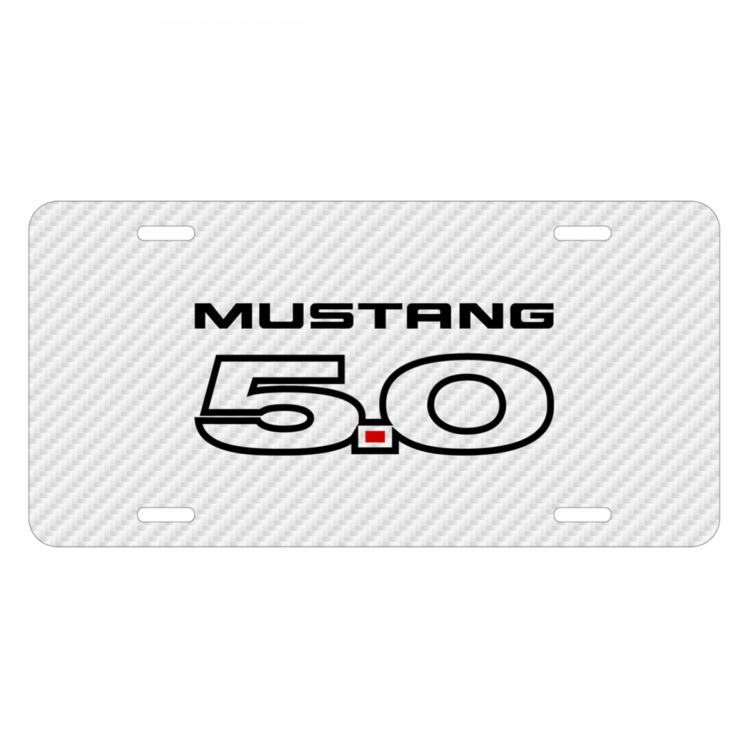 Ford Mustang 5.0 White Carbon Fiber Texture Graphic UV Metal License Plate