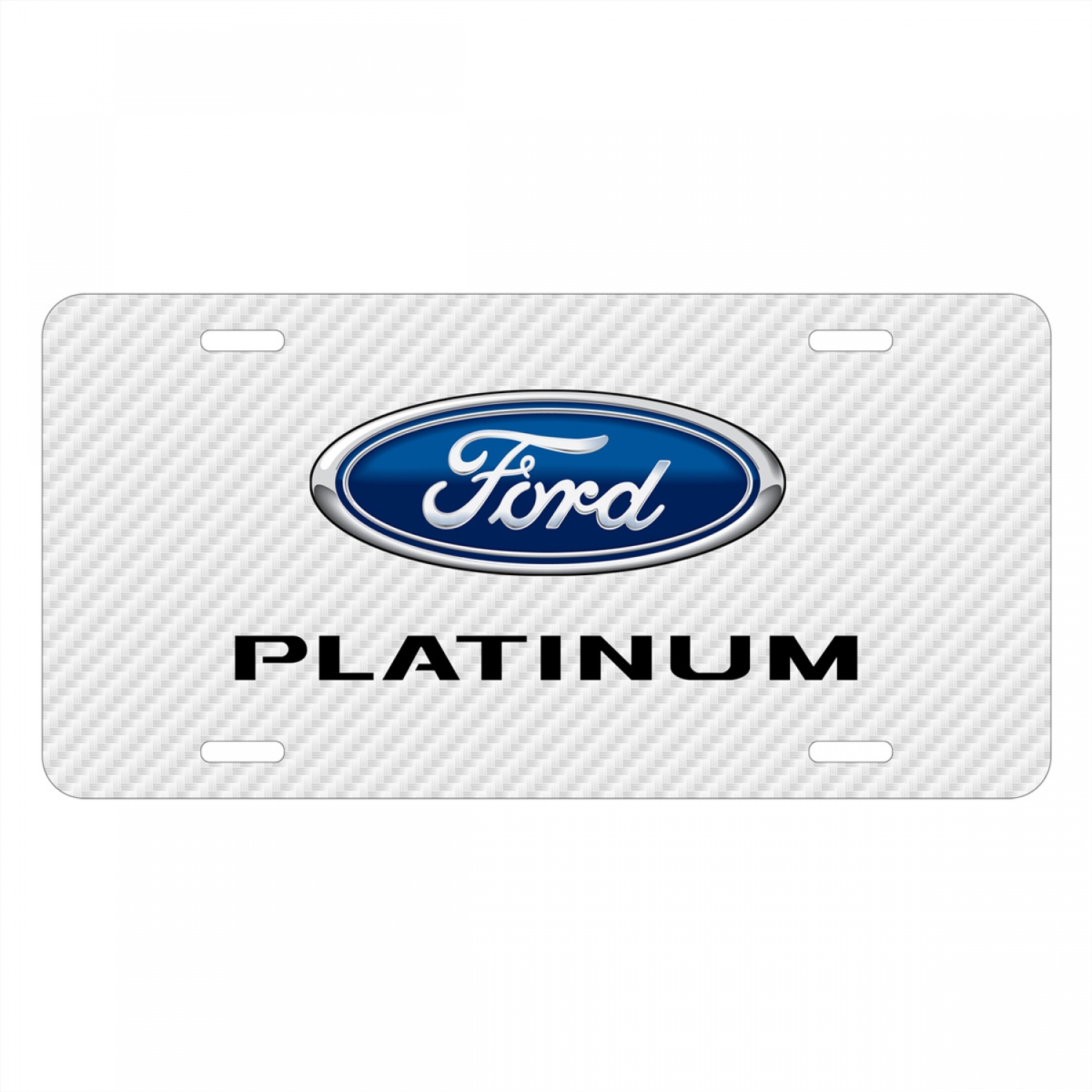 Ford F-150 Platinum White Carbon Fiber Texture Graphic UV Metal License Plate