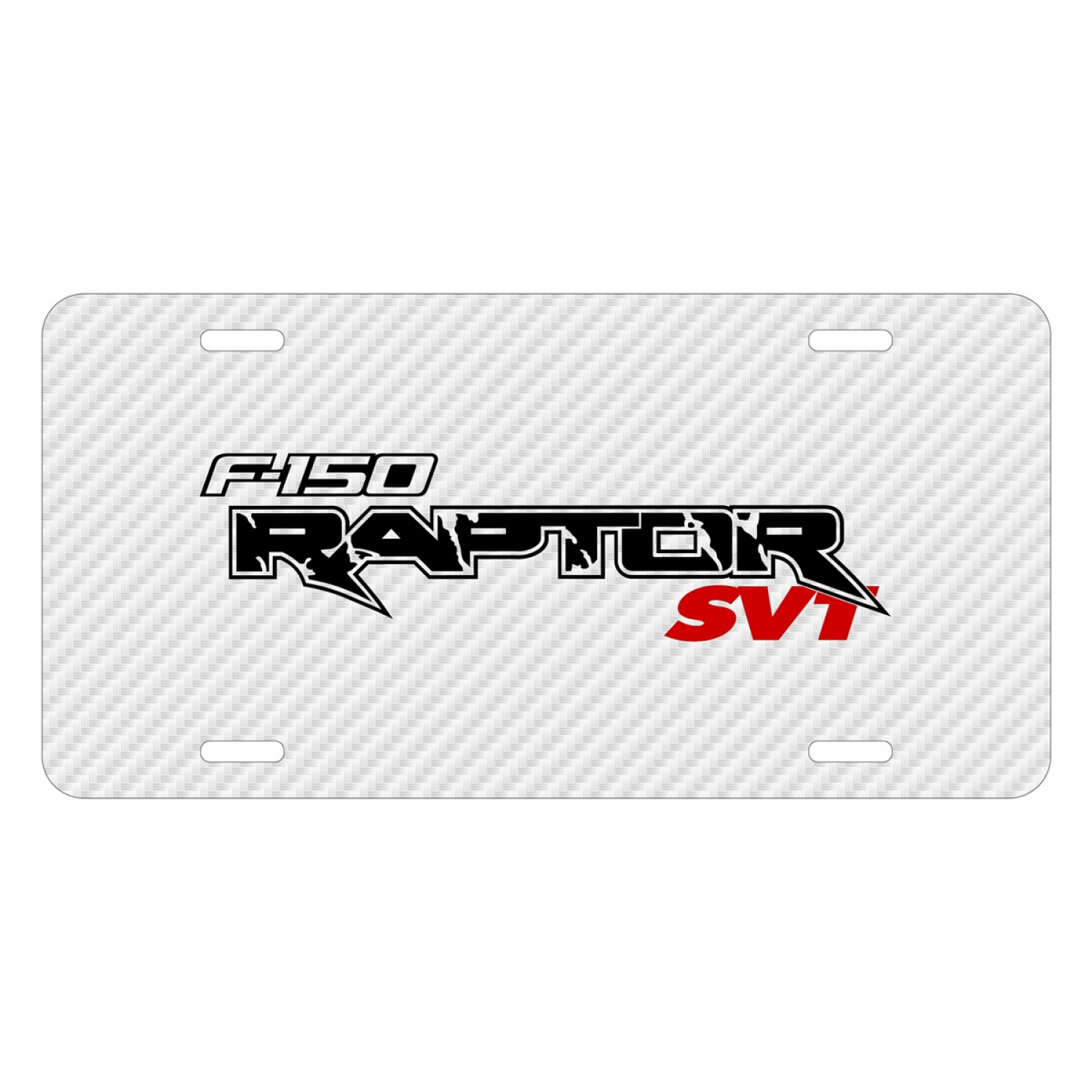 Ford F-150 Raptor SVT 2010 to 2014 White Carbon Fiber Texture Graphic UV Metal License Plate