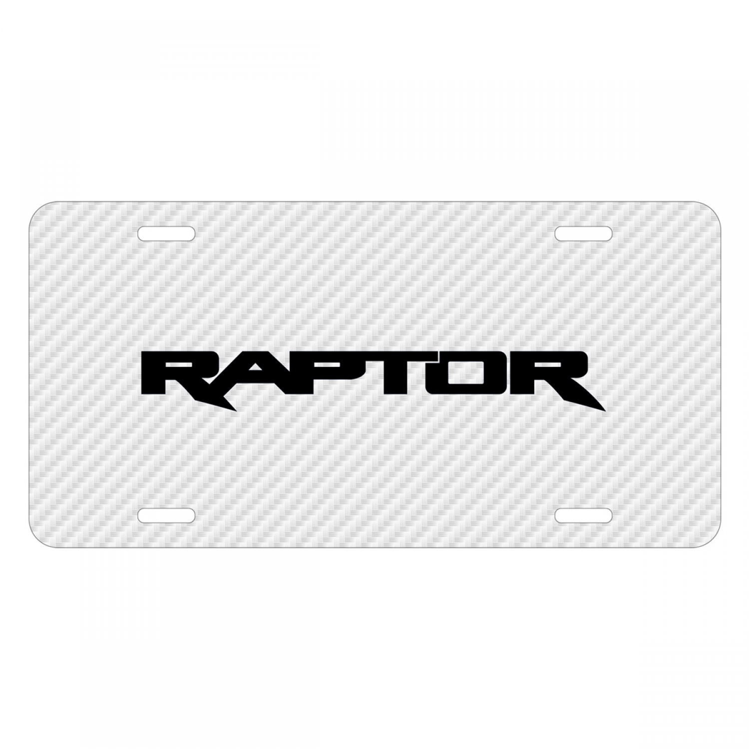 Ford F-150 Raptor 2017 White Carbon Fiber Texture Graphic UV Metal License Plate