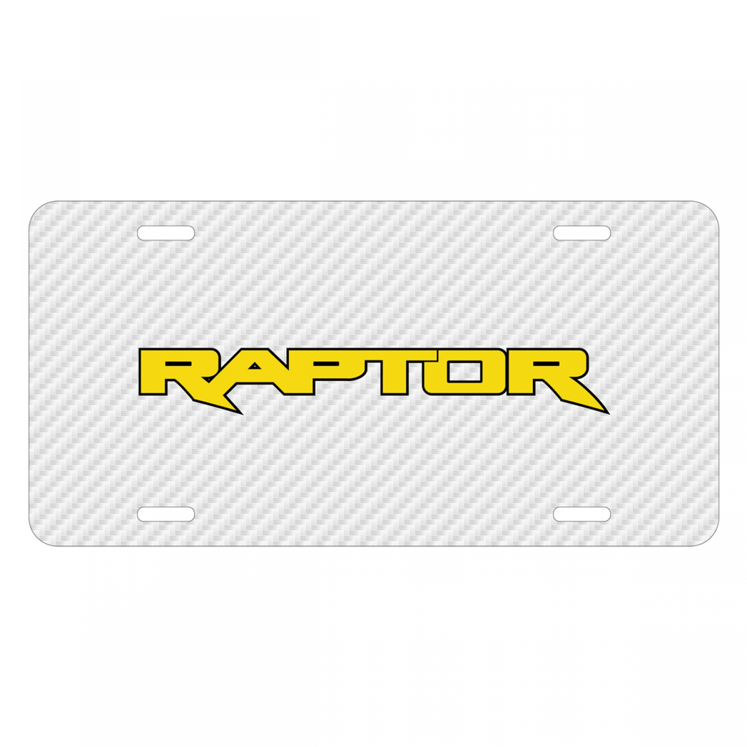 Ford F-150 Raptor 2017 in Yellow White Carbon Fiber Texture Graphic UV Metal License Plate