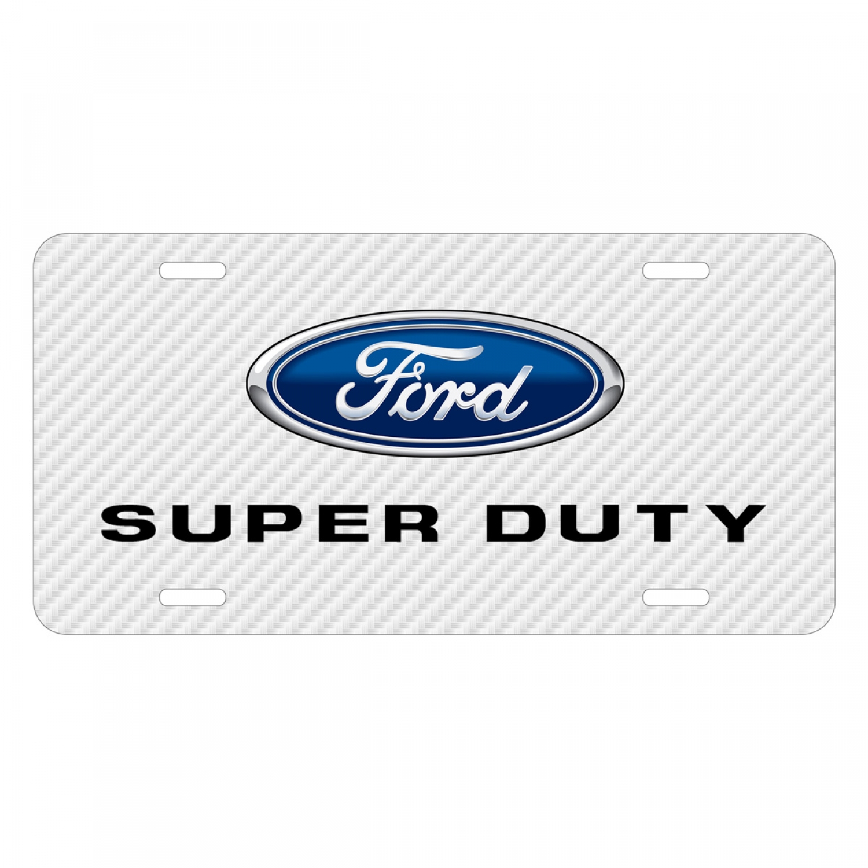 Ford Super-Duty White Carbon Fiber Texture Graphic UV Metal License Plate