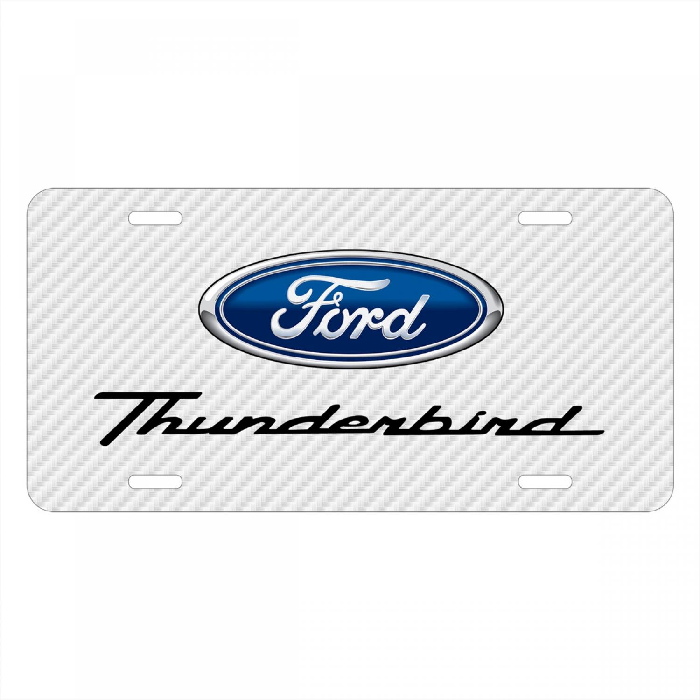 Ford Thunderbird White Carbon Fiber Texture Graphic UV Metal License Plate