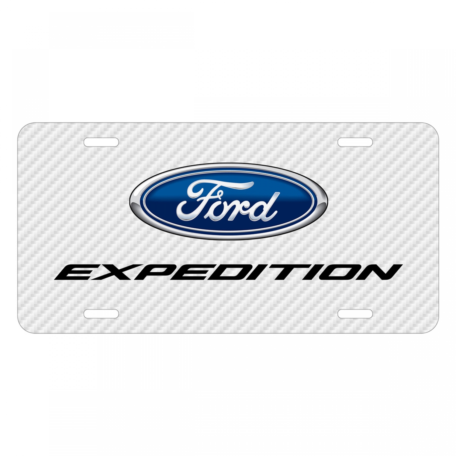 Ford Expedition White Carbon Fiber Texture Graphic UV Metal License Plate