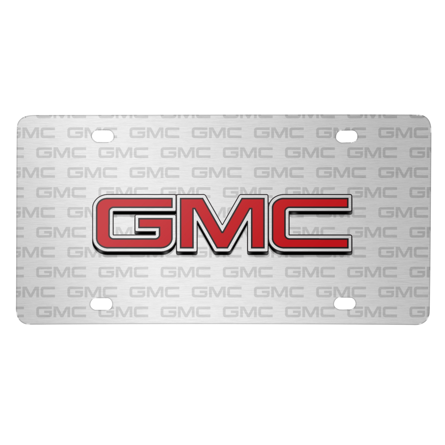 GMC Red Inlay 3D Logo on Logo Pattern Brushed Aluminum License Plate