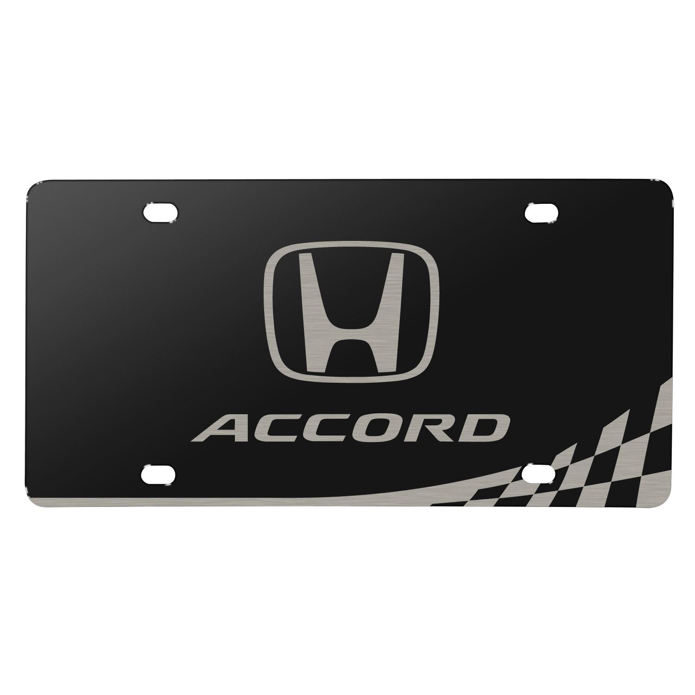 Honda Logo Accord Matt-Look Laser Etched Checker Stripe Black Acrylic License Plate