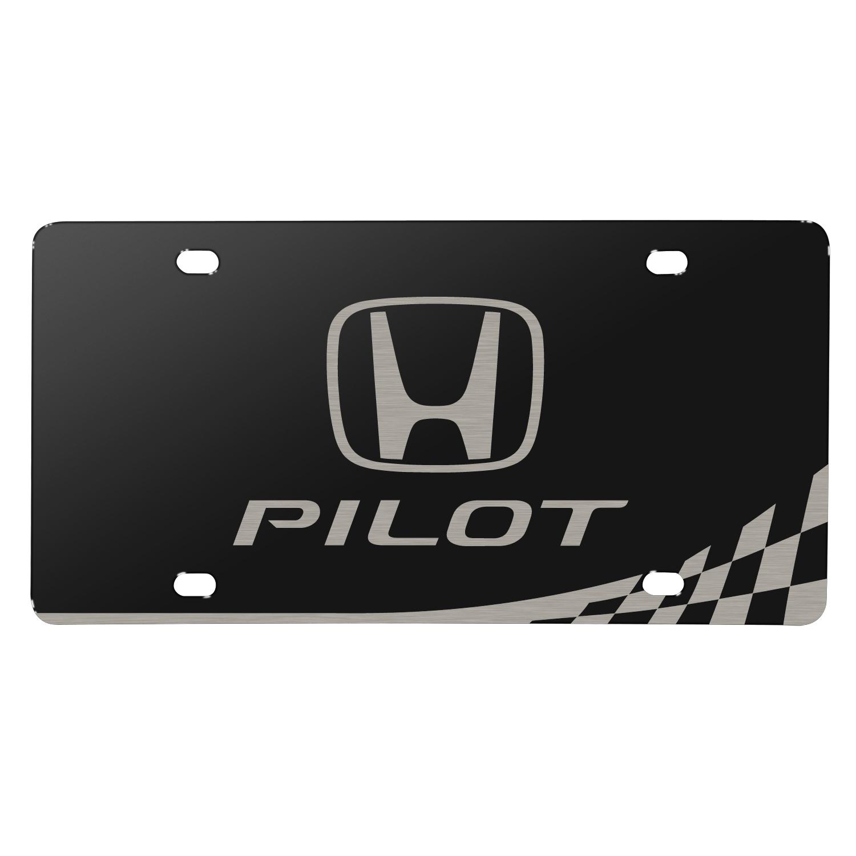 Honda Logo Pilot Matt-Look Laser Etched Checker Stripe Black Acrylic License Plate