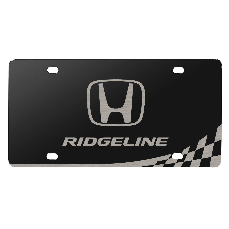 Honda Logo Ridgeline Matt-Look Laser Etched Checker Stripe Black Acrylic License Plate