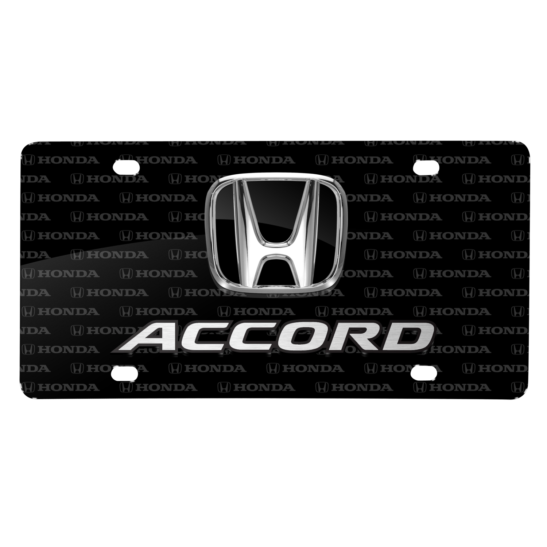 Honda Accord 3D Dual Logo on Logo Pattern Black Aluminum License Plate