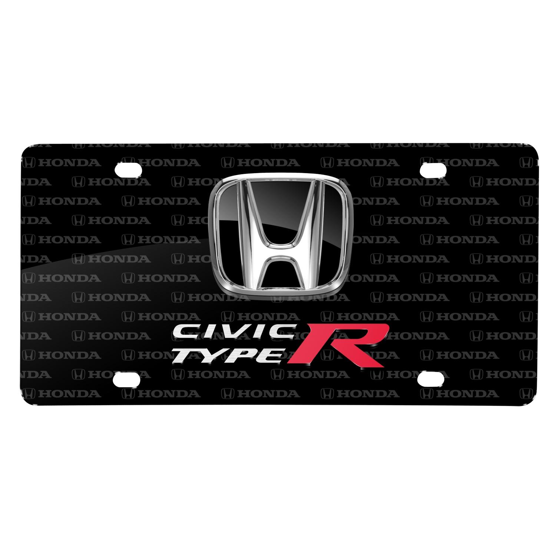 Honda Civic Type-R 3D Dual Logo on Logo Pattern Black Aluminum License Plate