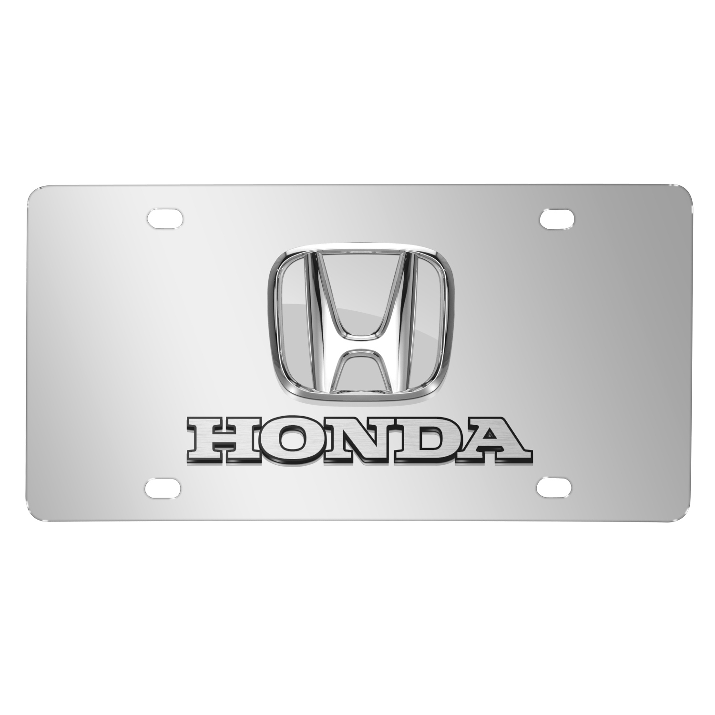 Honda 3D Chrome Logo Dual Chrome Stainless Steel License Plate