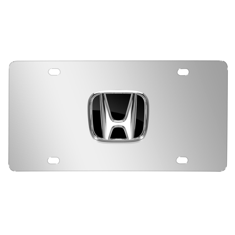 Honda 3D Black Logo on Chrome Stainless Steel License Plate