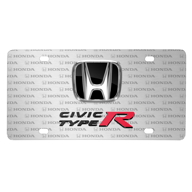 Honda Civic Type-R 3D Dual Logo on Logo Pattern Brushed Aluminum License Plate