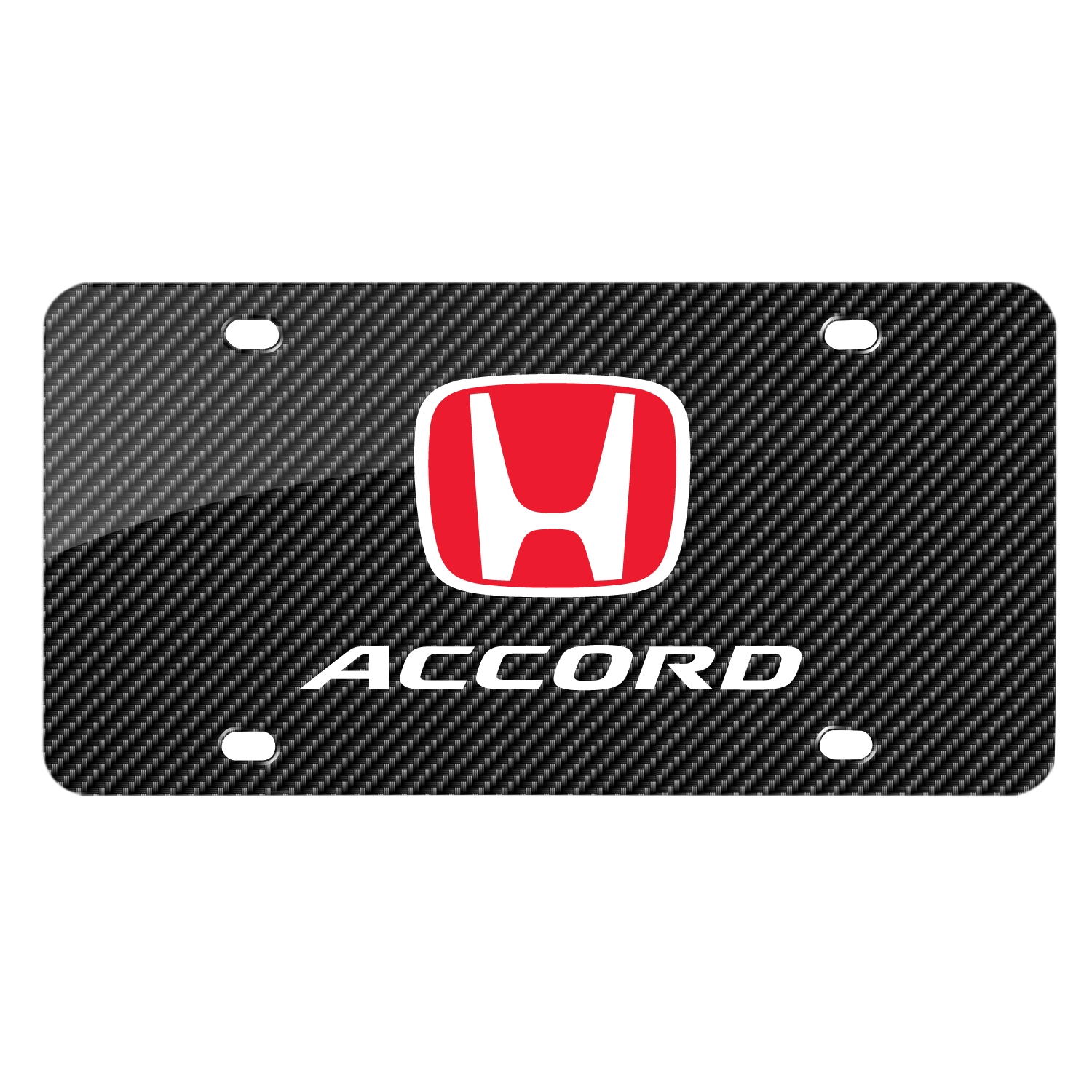 Honda Red Logo in Red Carbon Fiber Look Graphic Metal License Plate
