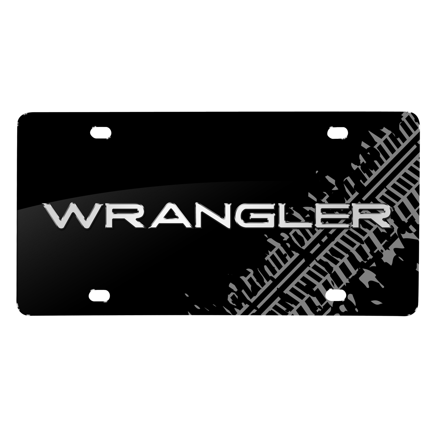 Jeep Wrangler 3D Logo Tire Mark Black Metal License Plate
