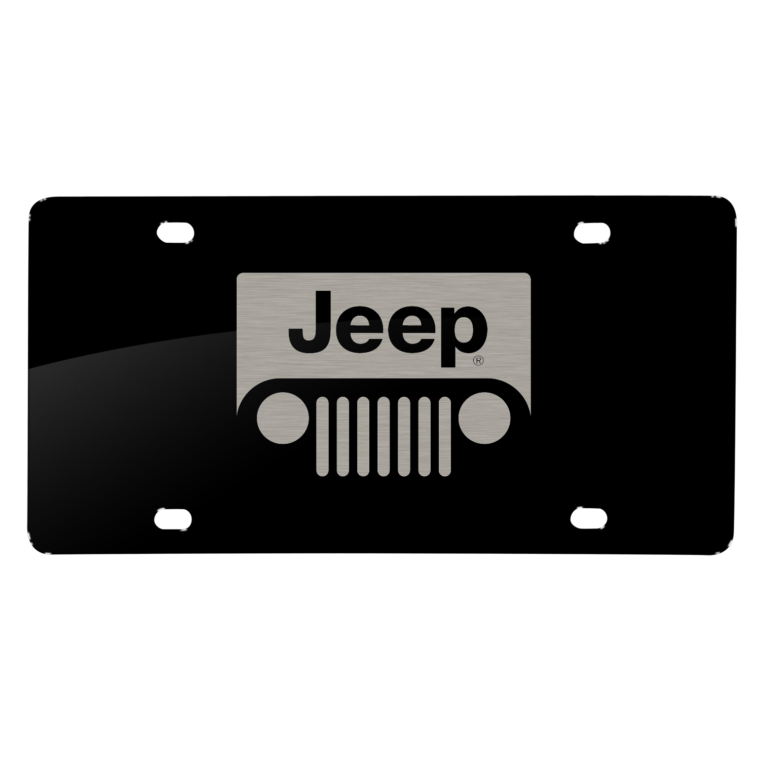 Jeep Grill Laser Mark Black Acrylic License Plate