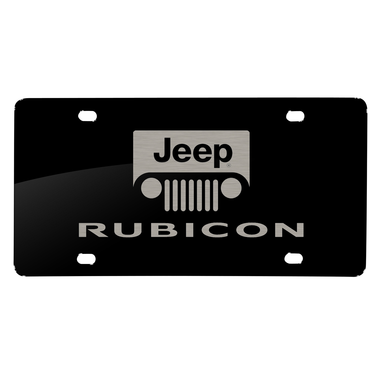 Jeep Rubicon Laser Mark Black Acrylic License Plate