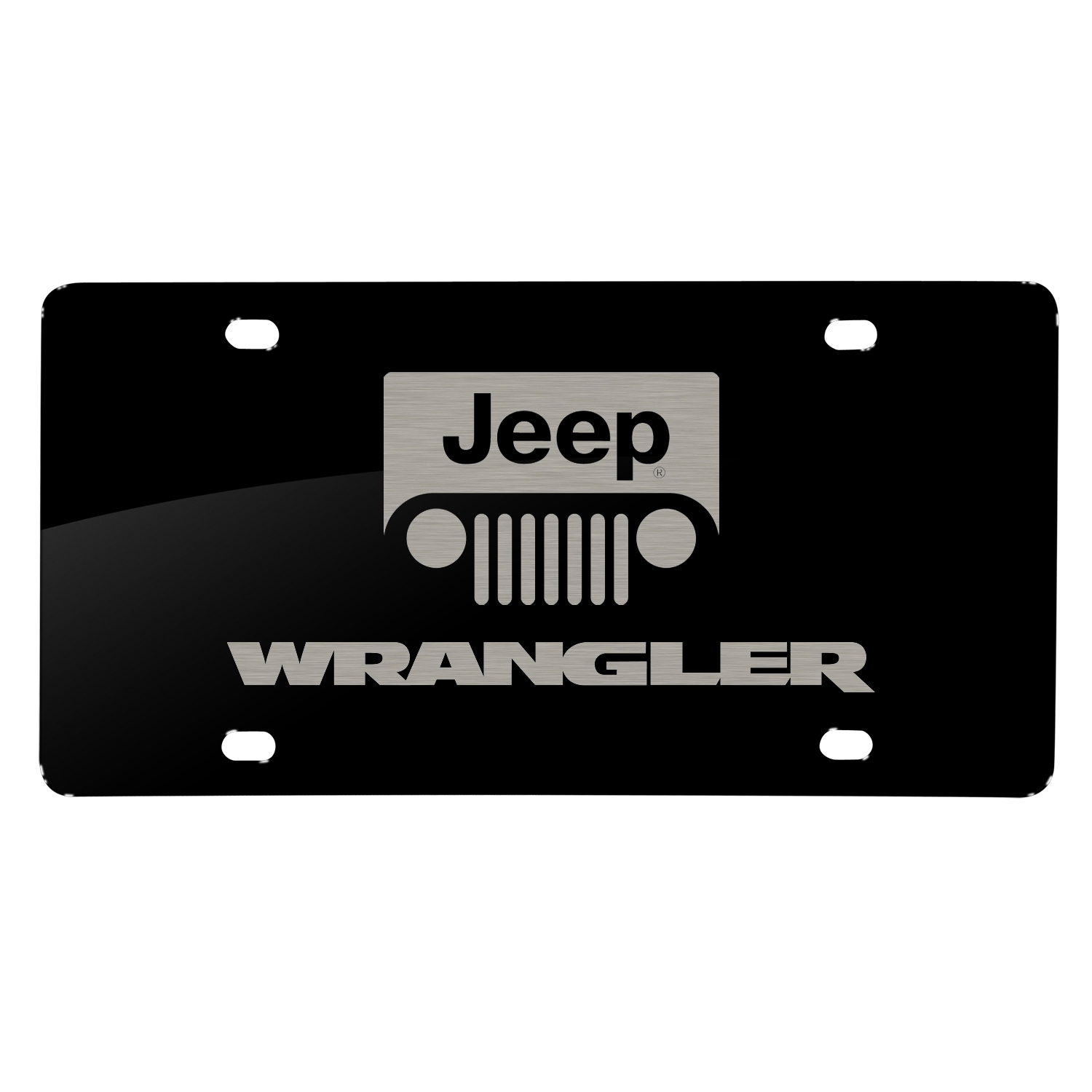 Jeep Wrangler Laser Mark Black Acrylic License Plate