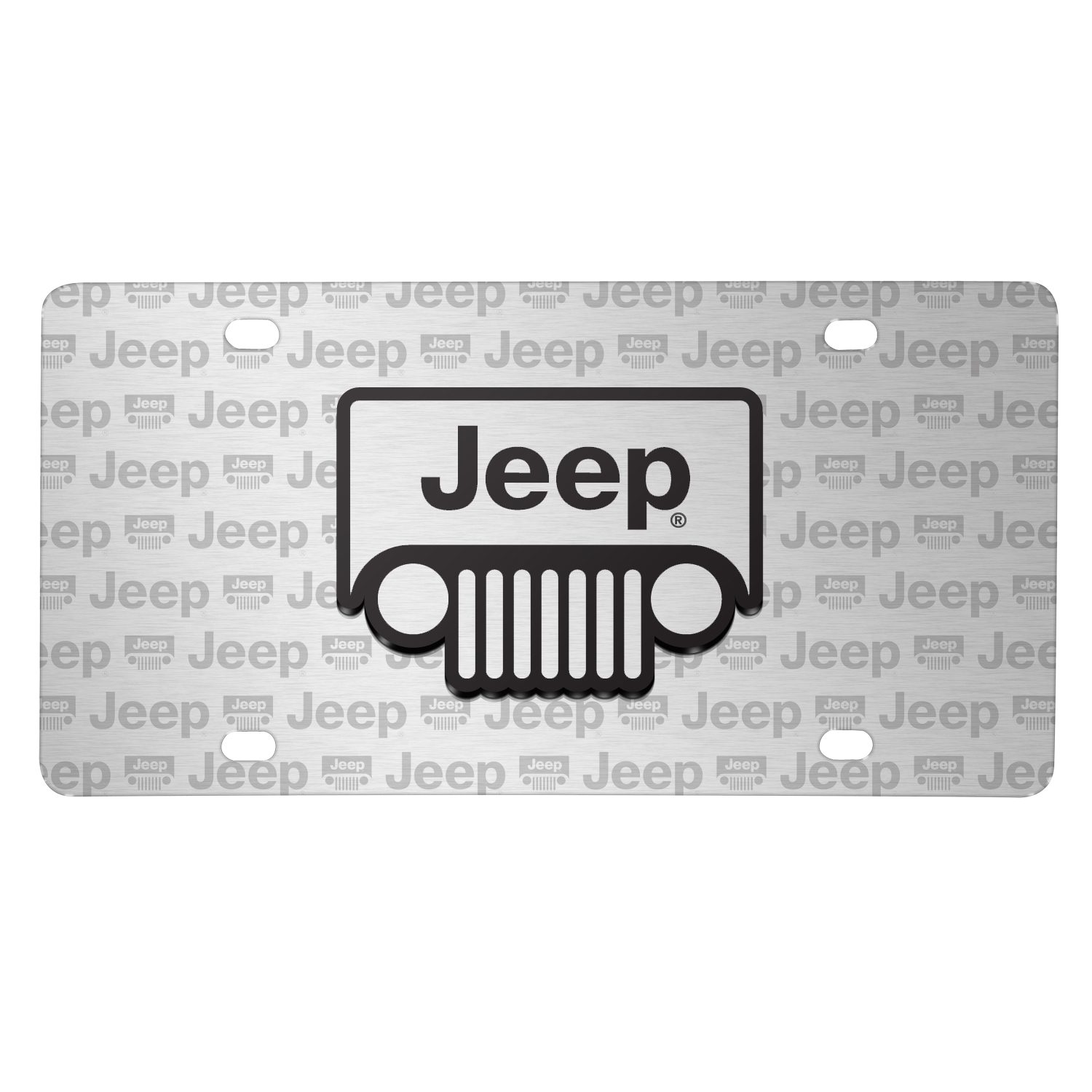 Jeep Grill 3D Logo on Logo Pattern Brushed Aluminum License Plate