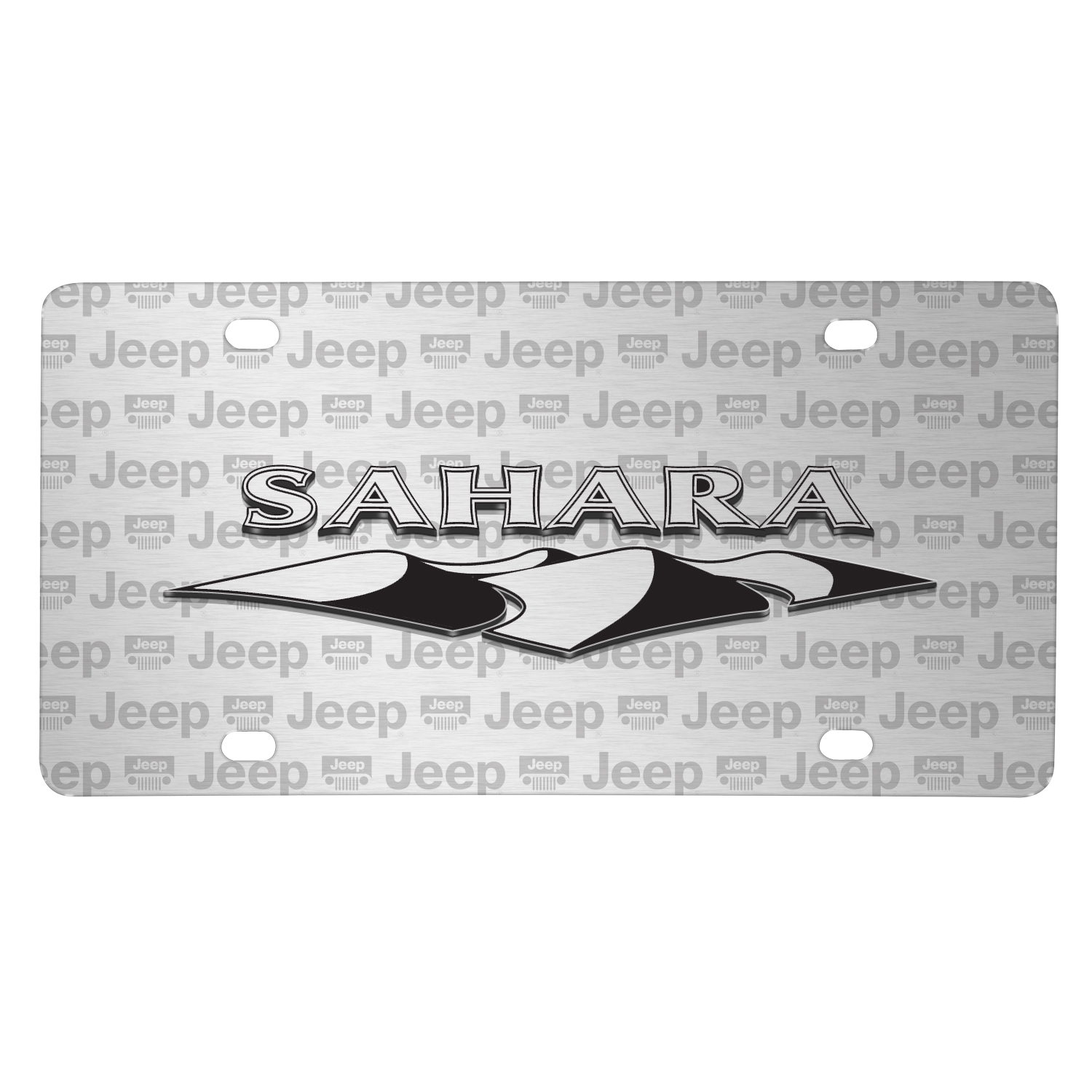 Jeep Wrangler Sahara 3D Logo on Logo Pattern Brushed Aluminum License Plate