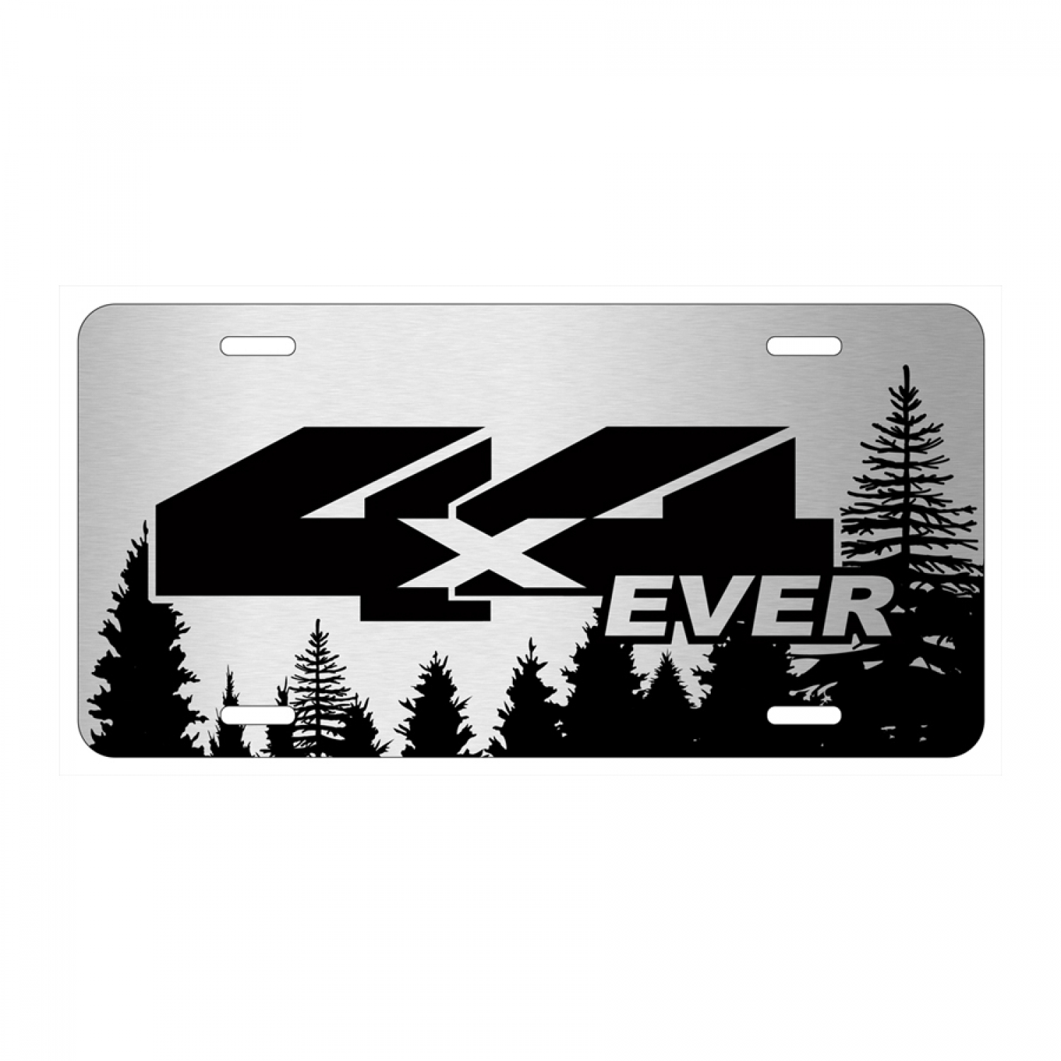Jeep 4X4 Ever Forrest Sillhouette Graphic Brush Aluminum License Plate