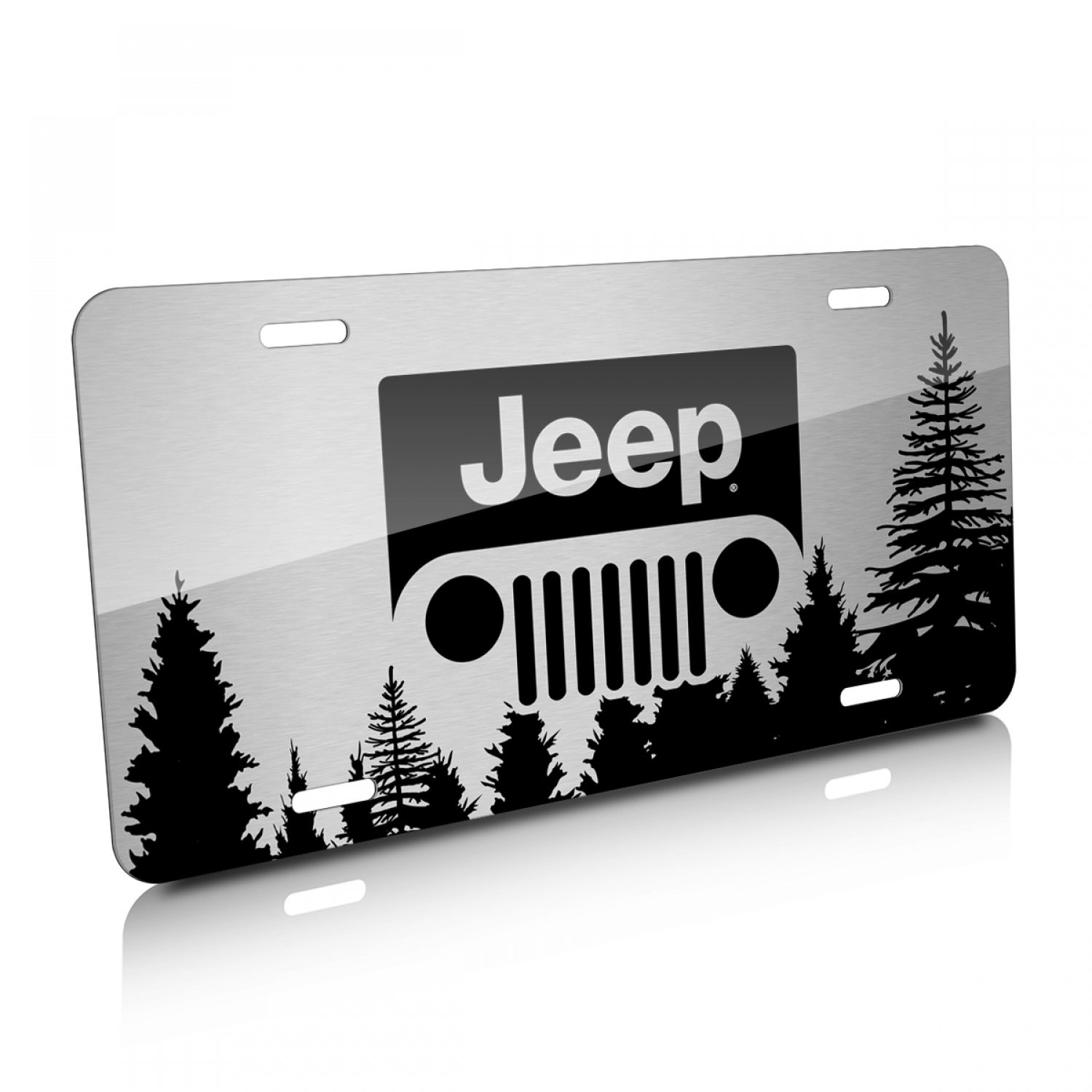 Jeep Grill Logo Forrest Sillhouette Graphic Brush Aluminum License Plate