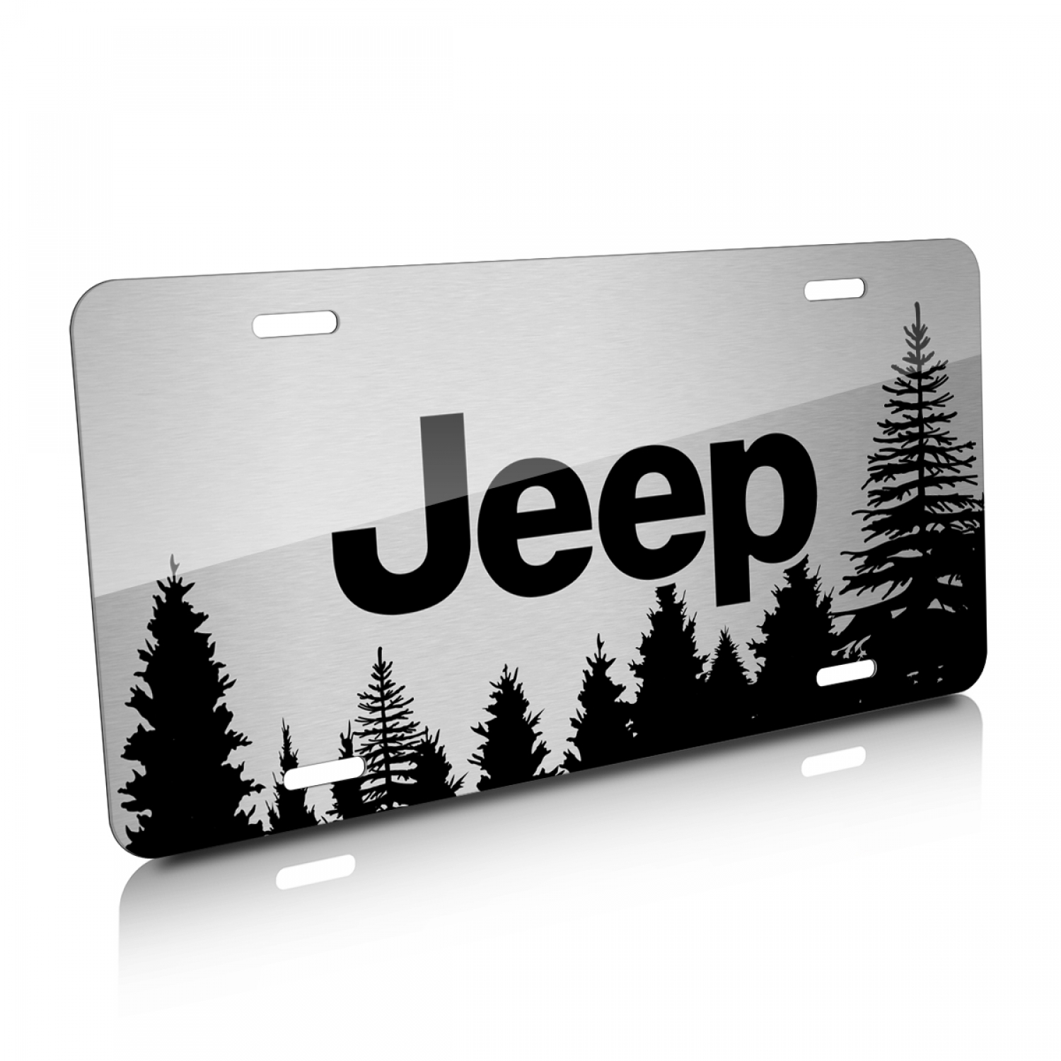 Jeep Forrest Sillhouette Graphic Brush Aluminum License Plate