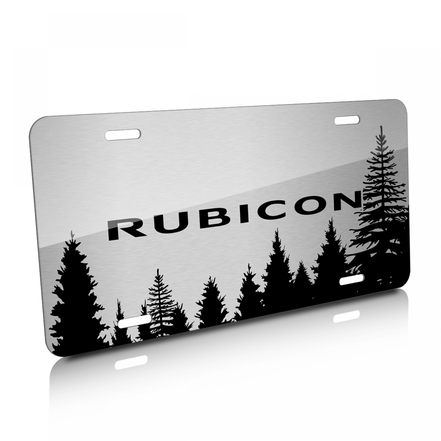 Jeep Rubicon Forrest Sillhouette Graphic Brush Aluminum License Plate