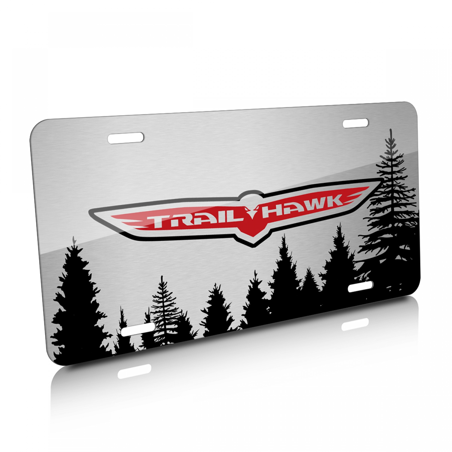 Jeep Trailhawk Forrest Sillhouette Graphic Brush Aluminum License Plate