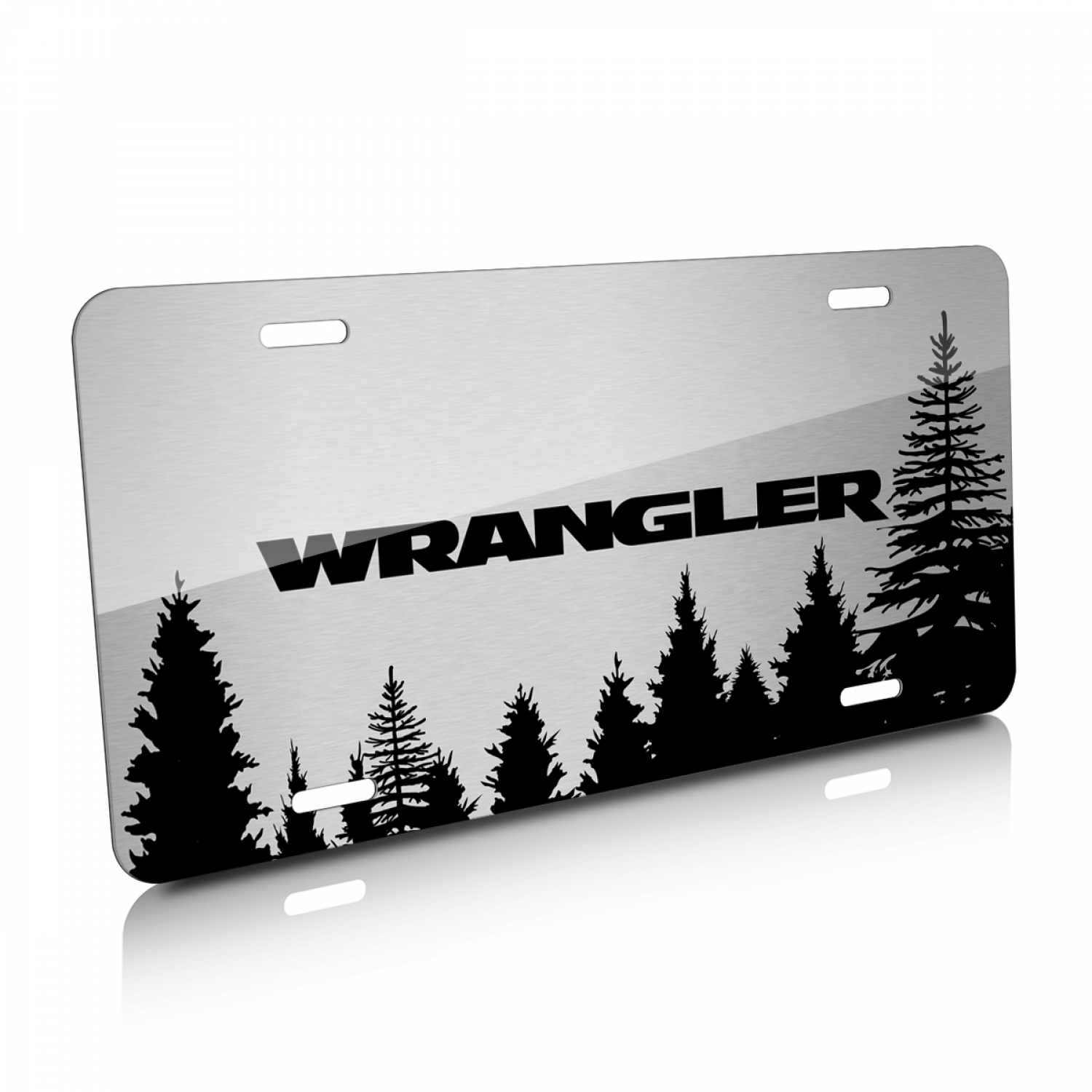 Jeep Wrangler Forrest Sillhouette Graphic Brush Aluminum License Plate