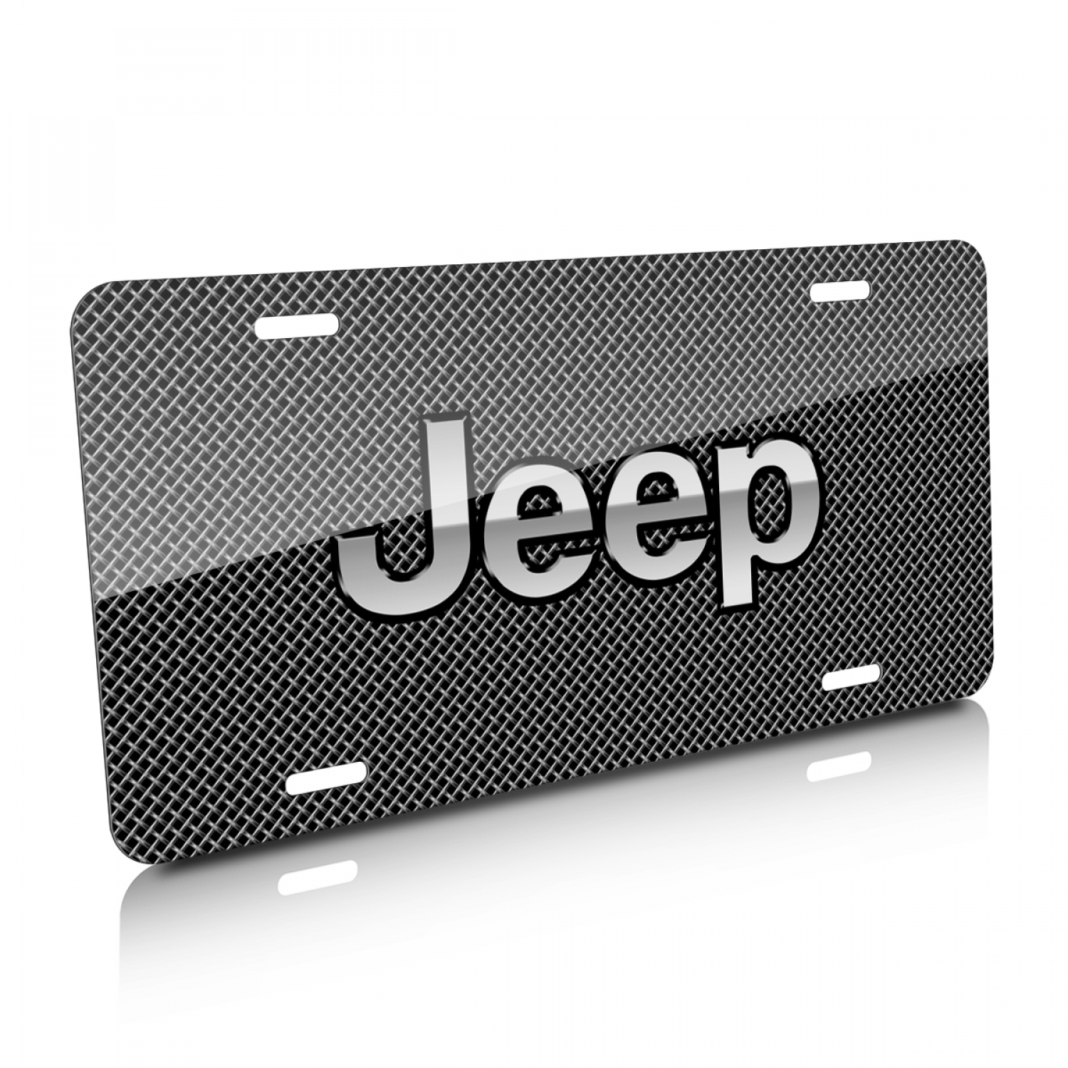 Jeep Mesh Grill Graphic Aluminum License Plate