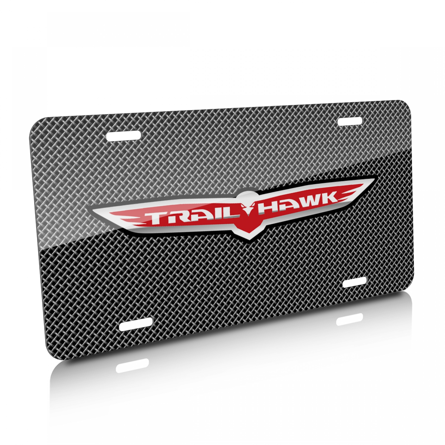 Jeep Trailhawk Mesh Grill Graphic Aluminum License Plate