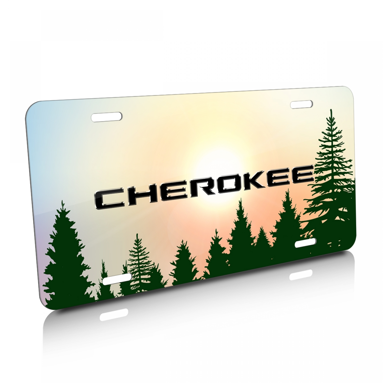 Jeep Cherokee Green Forrest Sillhouette Graphic Aluminum License Plate