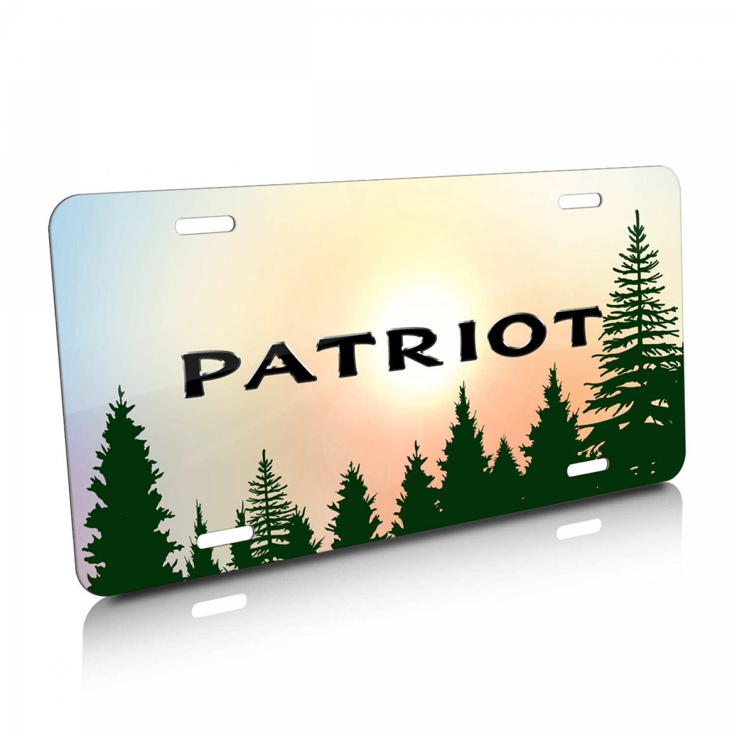 Jeep Patriot Green Forrest Sillhouette Graphic Aluminum License Plate