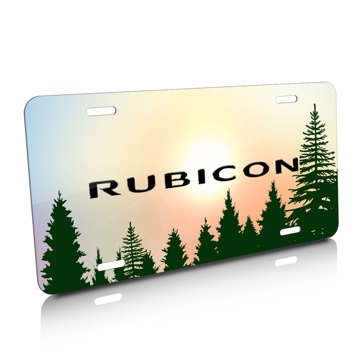 Jeep Rubicon Green Forrest Sillhouette Graphic Aluminum License Plate