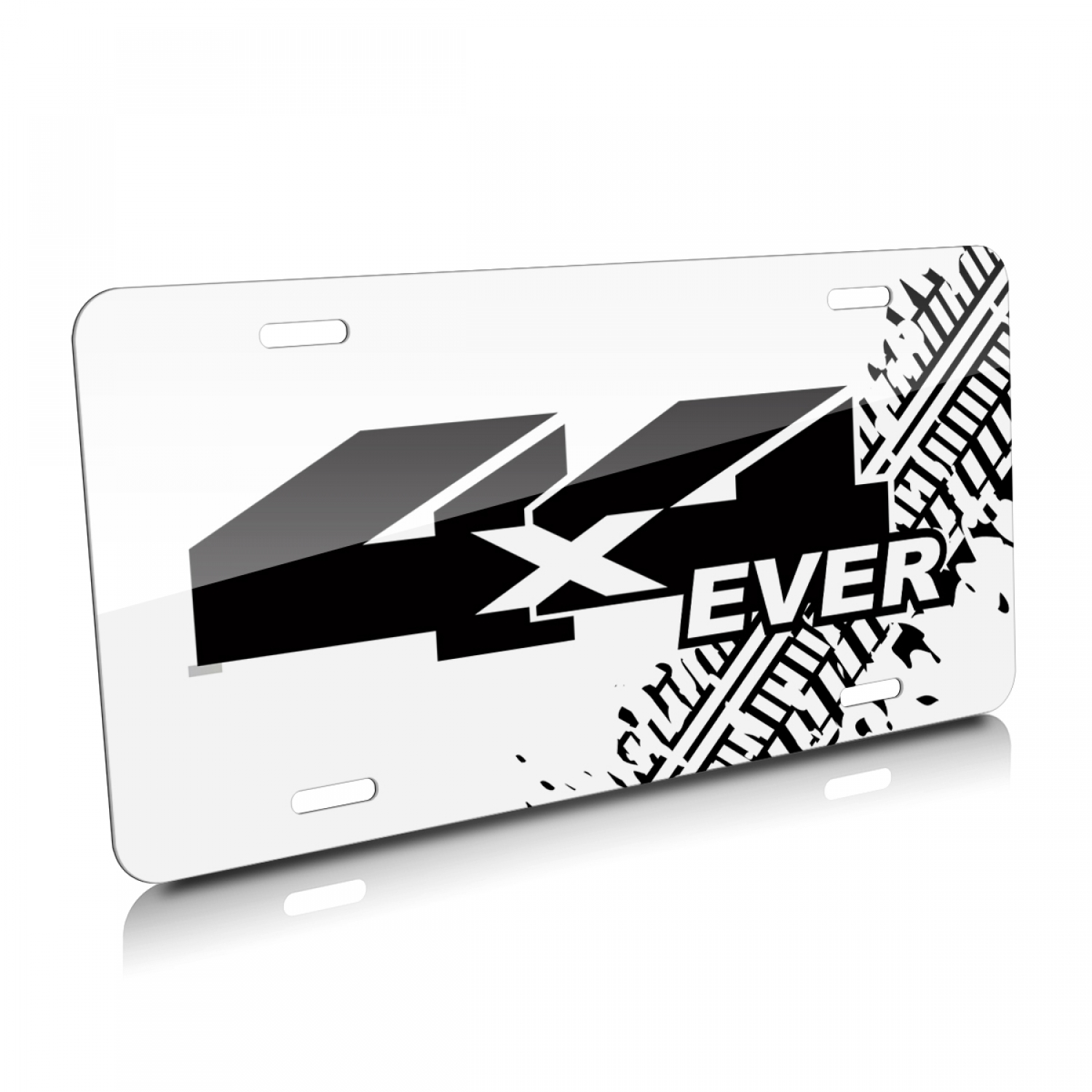 Jeep 4X4 Ever Tire Mark Graphic White Aluminum License Plate